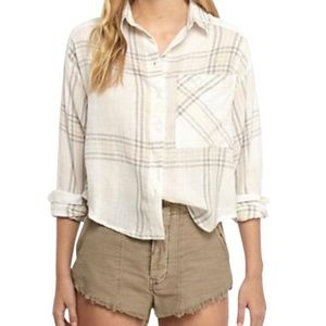 Free People Cutie Cropped Button Down Top